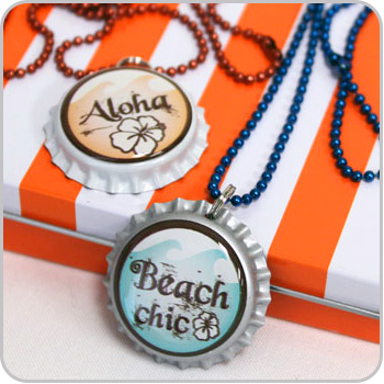 Bottle Cap Necklaces Summer Theme