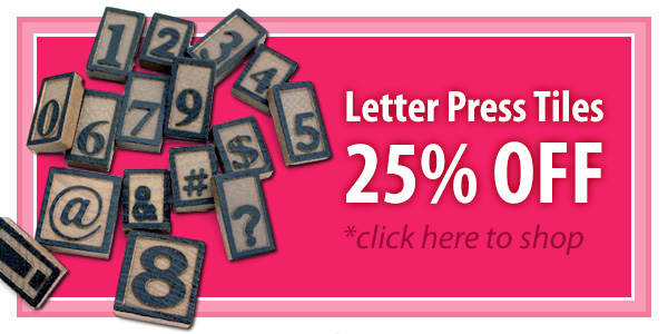 Wooden Letter Press Tile for Crafts and Jewelry