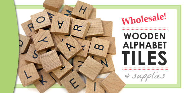 Wooden Scrabble Style Alphabet Tiles